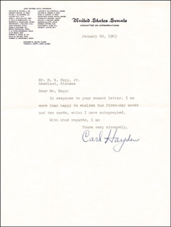 CARL HAYDEN - TYPED LETTER SIGNED 01/22/1963
