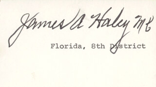 Autographs: JAMES A. HALEY - PRINTED CARD SIGNED IN INK