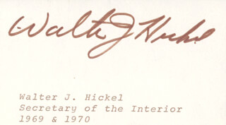 WALTER J. HICKEL - PRINTED CARD SIGNED IN INK