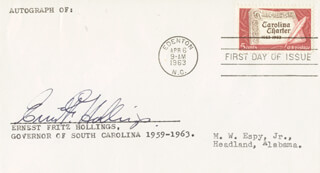 Autographs: ERNEST FRITZ HOLLINGS - FIRST DAY COVER SIGNED