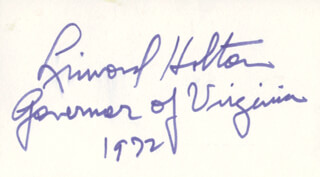 GOVERNOR LINWOOD HOLTON - AUTOGRAPH