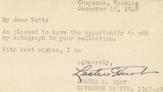 Autographs: LESTER C. HUNT - TYPED NOTE SIGNED 12/15/1948