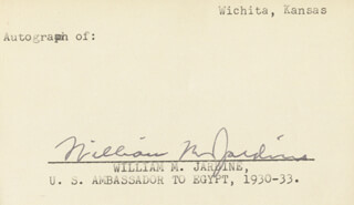 Autographs: WILLIAM M. JARDINE - SIGNATURE(S)