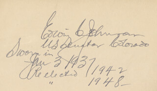 GOVERNOR EDWIN C. JOHNSON - DOCUMENT SIGNED