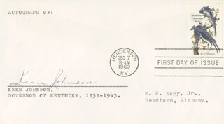 GOVERNOR KEEN JOHNSON - FIRST DAY COVER SIGNED