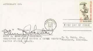 GOVERNOR OLIN D. JOHNSTON - FIRST DAY COVER SIGNED