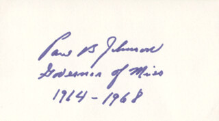 GOVERNOR PAUL B. JOHNSON JR. - AUTOGRAPH