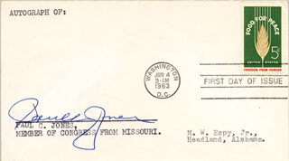 PAUL C. JONES - FIRST DAY COVER SIGNED