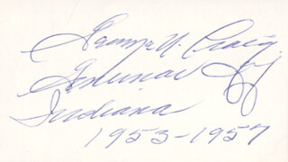 GOVERNOR GEORGE N. CRAIG - AUTOGRAPH  - HFSID 70926