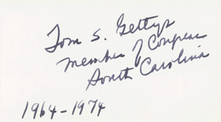 THOMAS S. GETTYS - AUTOGRAPH