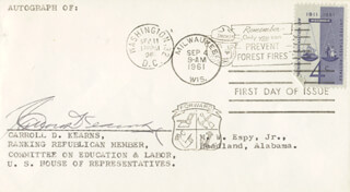 CARROLL D. KEARNS - FIRST DAY COVER SIGNED