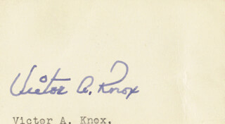 VICTOR A. KNOX - AUTOGRAPH