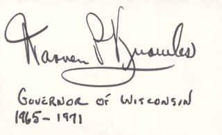 WARREN P. KNOWLES - AUTOGRAPH