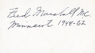 FRED MARSHALL - AUTOGRAPH