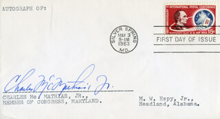 CHARLES M. MATHIAS JR. - FIRST DAY COVER SIGNED