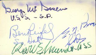 GEORGE MCGOVERN - AUTOGRAPH CO-SIGNED BY: ELLIS Y. BERRY, KARL E. MUNDT, BENJAMIN BEN REIFEL