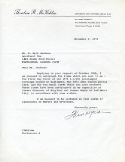 GOVERNOR THEODORE MCKELDIN - TYPED LETTER SIGNED 11/09/1972