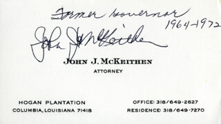 GOVERNOR JOHN J. MCKEITHEN - BUSINESS CARD SIGNED