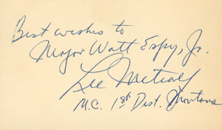 LEE METCALF - AUTOGRAPH NOTE SIGNED