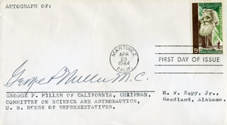 GEORGE P. MILLER - FIRST DAY COVER SIGNED
