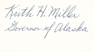 GOVERNOR KEITH H. MILLER - AUTOGRAPH