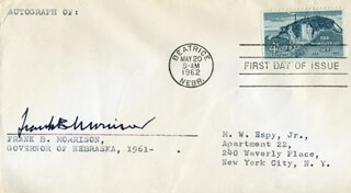 GOVERNOR FRANK B. MORRISON - FIRST DAY COVER SIGNED