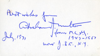 ABRAHAM J. MULTER - AUTOGRAPH SENTIMENT SIGNED 7/1971