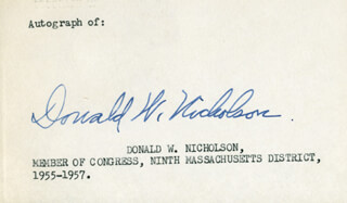DONALD WILLIAM NICHOLSON - AUTOGRAPH