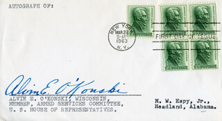 ALVIN E. O'KONSKI - FIRST DAY COVER SIGNED