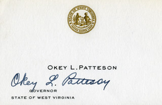 GOVERNOR OKEY L. PATTESON - CALLING CARD SIGNED