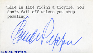 Autographs: CLAUDE D. PEPPER - TYPED QUOTATION SIGNED