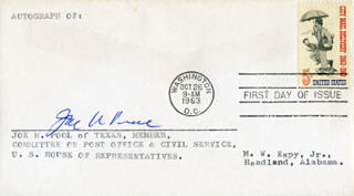 JOE R. POOL - FIRST DAY COVER SIGNED