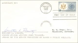 WINSTON L. PROUTY - FIRST DAY COVER SIGNED