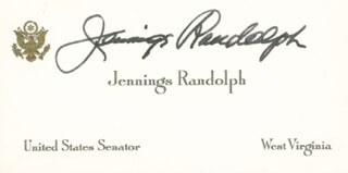 JENNINGS RANDOLPH - CALLING CARD SIGNED