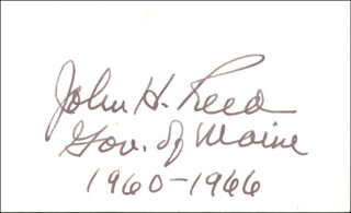 GOVERNOR JOHN H. REED - AUTOGRAPH