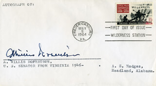 ABSALOM WILLIS ROBERTSON - FIRST DAY COVER SIGNED