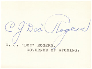 GOVERNOR CLIFFORD JOY DOC ROGERS - AUTOGRAPH