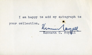 Autographs: BRIGADIER GENERAL KENNETH C. ROYALL - TYPED NOTE SIGNED