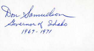 GOVERNOR DON SAMUELSON - AUTOGRAPH