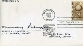 GOVERNOR ANDREW F. SCHOEPPEL - FIRST DAY COVER SIGNED