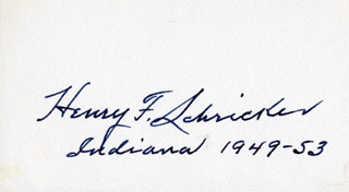 GOVERNOR HENRY F. SCHRICKER - AUTOGRAPH