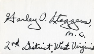 HARLEY O. STAGGERS - AUTOGRAPH
