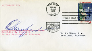 GOVERNOR RAWGHLIE C. STANFORD - FIRST DAY COVER SIGNED