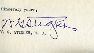 Autographs: WILLIAM GRADY STIGLER - TYPED SENTIMENT SIGNED