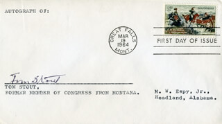 TOM STOUT - FIRST DAY COVER SIGNED