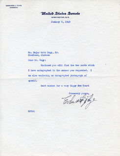 EDWARD J. THYE - TYPED LETTER SIGNED 01/06/1949