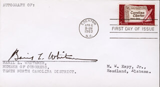 Autographs: BASIL LEE WHITENER - FIRST DAY COVER SIGNED
