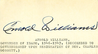 GOVERNOR ARNOLD WILLIAMS - AUTOGRAPH