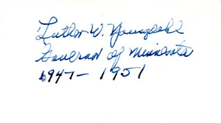 LUTHER W. YOUNGDAHL - AUTOGRAPH