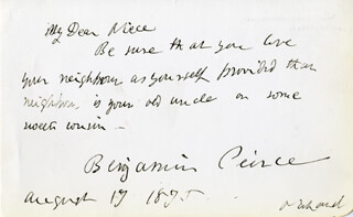 Autographs: BENJAMIN PEIRCE - AUTOGRAPH NOTE SIGNED 08/17/1875